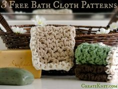 3 Free Crochet Washcloth Patterns! ༺✿Teresa Restegui http://www.pinterest.com/teretegui/✿༻