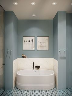 65 ideas for apartment bathroom renovation bath tubs Bad Inspiration, Bathroom Inspiration, Blue Backsplash, Apartment Projects, Bathroom Interior Design, Beautiful Bathrooms, Small Bathroom, Bathroom Black, Master Bathrooms
