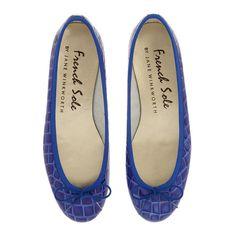 c8d978fd3 French Sole Henrietta Blue Patent Croc Flats