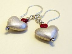 Bali Silver Heart Earrings with Little Red Hearts by bluetina, $30.00