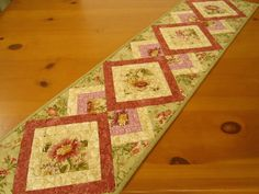 Quilted Table Runner Floral by PatchworkMountain on Etsy