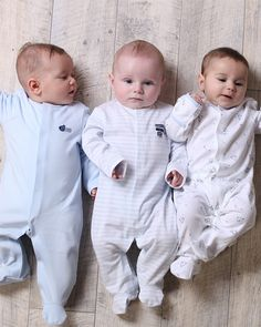 Baby Boy Pack of 3 Blue Sleepsuits - Baby Boys Clothes