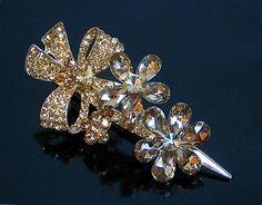 LARGE GOLD DIAMANTE FLORAL HAIR PIN / HAIR CLIP A-SHU.CO.UK