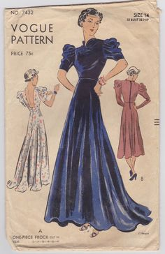 1930s Evening Gown Pattern | Vogue 7432