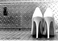 ©Liz Rogers Photography Firefighter Wedding, Brides shoes on the diamond plate of a fire truck!