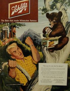 Vintage Color Schlitz Beer Alchohol. That dude looks so pissed.