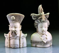 """Signed Chinese Ivory Snuff Bottles - Emperor & Empress ~ China, early 20th century. Set of two bottles depicting Upper Body Parts Of Emperor And Empress, Artist's Signature On Underside Of Each Carving. Each Carving Measures 2-1/2"""" High."""