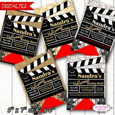 Red Carpet Movie Party Invitation Printable by Movie Party Invitations, Digital Invitations, Printable Invitations, Invitation Wording, Red Carpet Theme, Red Carpet Party, Hollywood Birthday Parties, Hollywood Theme, Hollywood Invitations