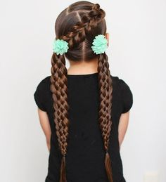 I just saw that I won the braid awards 2015 for best sports hairstyle in @jehat category. Thanks!!  exciting!! C has a diagonal pull through braid into two ponytails. Ponytails each have a six strand braid. And her hair looks extra long to me here for some reason....