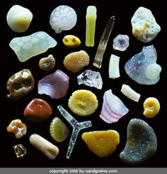 A handful of sand that looks drab and featureless...but see how spectacular they are when magnified by 250x?