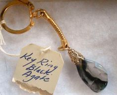 YES EVEN KEY CHAINS!! Black/Panama Agate - Brass toned Ket ring - $7 USD