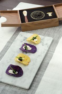 Creme Fraiche and ROE Caviar on Potato Chips