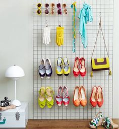 Hang heels, bags and sunnies on a wire shelf.