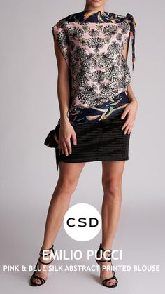 Emilio Pucci, Abstract Print, Printed Blouse, Pink Blue, Sequin Skirt, Fashion Dresses, Sequins, Silk, Skirts
