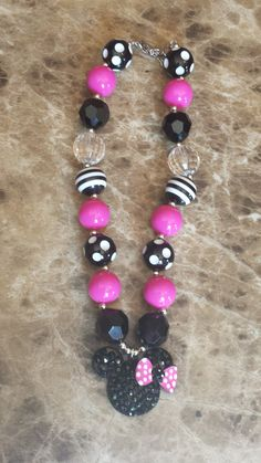 Minnie Mouse Black Pink & White Bubblegum Chunky by BottomsNBows