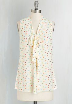 Miami Moments Top in Ivory Dots. Take your wardrobe on a vivacious Miami vacation with this ivory top!  #modcloth