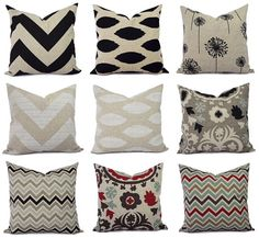 One+Throw+Pillow+Cover++Brown+and+Cream+by+CastawayCoveDecor