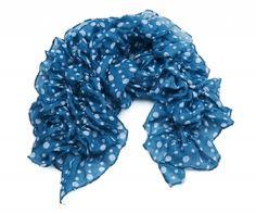 Blue Ruffle Spot Printed Scarf  100% Polyester  50 x 230cm  £10.00  http://www.icejewellery.com/nataliewilkinson/1/