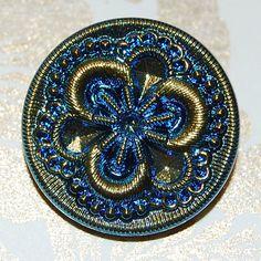 Dark Pansy Czech Glass Button by bellavetro on Etsy, $4.00