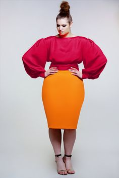 JIBRI Plus Size Bright Pink  Berry Rae Crop Blouse by jibrionline, $140.00