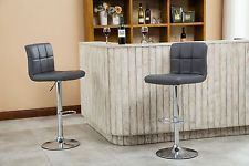 Roundhill Furniture Swivel Leather Adjustable Hydraulic Bar Stool, Set of 2, Gra