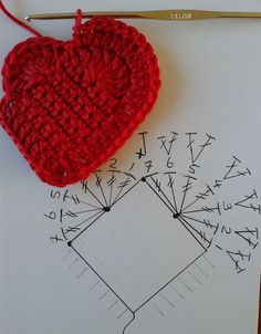 Free crochet pattern heart from José Crochet; also cute keychains made from the heart