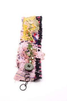 assemblage embroidered textile cuff lace beads by jiorji on Etsy, $30.00