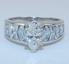 PLATINUM 172 ct Marquise Brilliant Unique Diamond by GalaxyGems, $3495.00