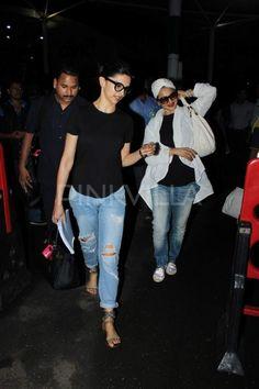What a stylish duo! Deepika and Rekha snapped at airport!   PINKVILLA