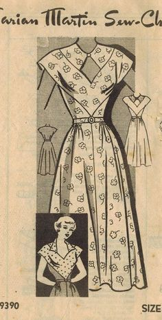 1950s Marian Martin 9390 Vintage Sewing Pattern Misses Dress Size 18 Bust 36