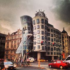 The Dancing House of Prague, dancing under a storm!