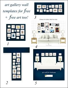 free art wall - art gallery walls for different rooms