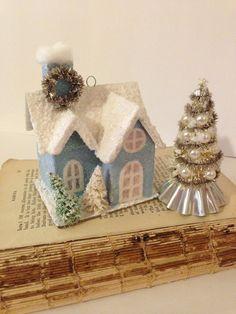 Blue Putz House Village Set Pastel Blue Small Glitter House Ornament with Matching Mini Bottle Brush Tree on Vintage Tart Tin Christmas Putz by ThePokeyPoodle on Etsy