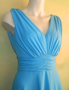 S 70s Vintage Bright Sky Blue Goddess Gown with Sheer by wyogems