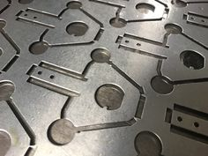 Range of standard CNC punch press tooling used to produce small galvanised steel sheet metal bracket. Galvanized Steel Sheet, Steel Sheet Metal, Sheet Metal Work, Types Of Sheet Metal, Metal Manufacturing, Punch Tool, Metal Projects, Metal Working, Cnc