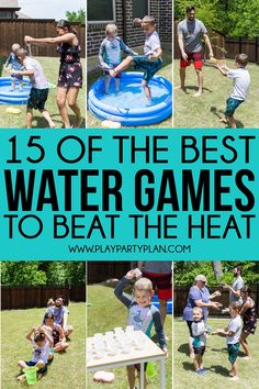Whether you're looking for outdoor water games for kids or easy games for summer birthday parties, these 15 water games are for you! They are perfect for field day, summer camp, and more!