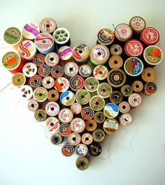 Recycled thread spools as a Valentine decoration~ I'll be calling my friend Judy to beg for some of her wooden spools of thread,LOL My Sewing Room, Sewing Rooms, Sewing Kit, Craft Projects, Sewing Projects, Diy And Crafts, Arts And Crafts, Thread Spools, Thread Art