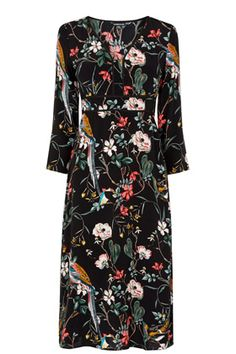 All | Other FLORAL BIRD EMPIRE MIDI DRESS | Warehouse