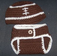 6 Month Football and Diaper Cover. Diaper Cover http://www.craftsy.com/project/view/Diaper-Covers-Newborn/2823 Hat Pattern http://www.ravelry.com/patterns/library/football-hat-pattern