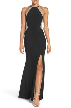 Xscape Beaded Illusion Mesh & Jersey Gown