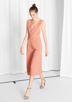 & Other Stories | Deep-V Wrap Dress in nude colour. love the open back