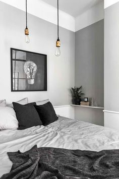 gray bedroom with pop of color 15 Bedroom Interior Design Ideas with Monochrome Themes For a More Elegant Look - Home Decor Monochrome Bedroom, Gray Bedroom, Modern Bedroom, Master Bedroom, Stylish Bedroom, Bedroom Small, Wood Bedroom, Bedroom Bed, Light Grey Bedrooms