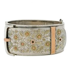 A Brandt and Son - Victorian Sterling Mixed Metals Buckle Bracelet