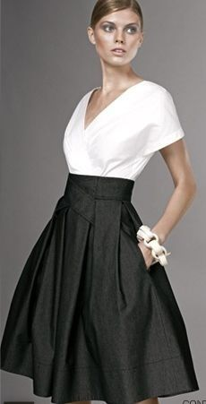 black skirt. white blouse. Carolina Herrera look.