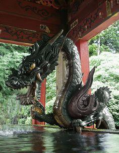 A bronze statue of Fuji Sengen Jinja [富士浅間神社] in Fuji-Yoshida [富士吉田] City Japan.