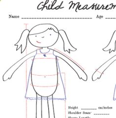 Freebie: Child measurement chart – Sewing