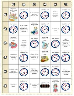 Coordenadas locas ; jeu qui permet de revoir les heures et les activités quotidiennes. REPORTEROS 5è
