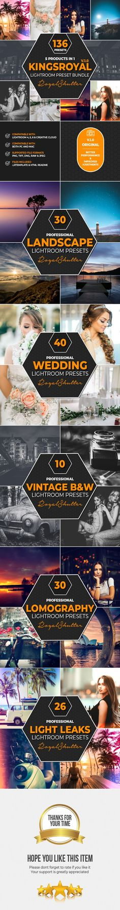 Buy 5 IN 1 KingsRoyal Lightroom Presets Bundle by RoyalShutter on GraphicRiver. 5 IN 1 KingsRoyal Lightroom Presets Bundle This 5 in 1 bundle, that includes a wopping 136 premium presets is a am.