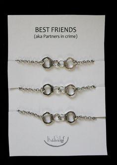3 Partners in crime matching Best Friends Bracelets - Silver Handcuffs Bracelet, handcuffs charm bracelet, bracelet handchain BFF jewelry This.