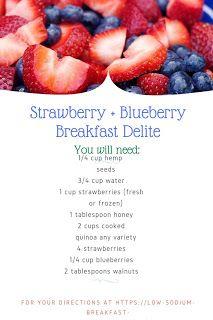 A wonderful Dash Diet Breakfast Recipe: Berry and Quinoa Breakfast Cereal Dash Diet Breakfast Recipe, Quinoa Breakfast Bowl, Blueberry Breakfast, Strawberry Blueberry, Breakfast Cereal, Breakfast Recipes, Dash Diet Recipes, Healthy Recipes, Recipe Berry